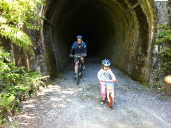 Carrying the balance bike in the trailer meant #2 could tackle the tunnel under her own steam