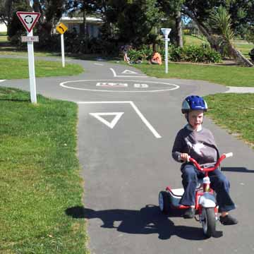 You can ride a trike with a broken arm. Avalon Bike Park, Lower Hutt
